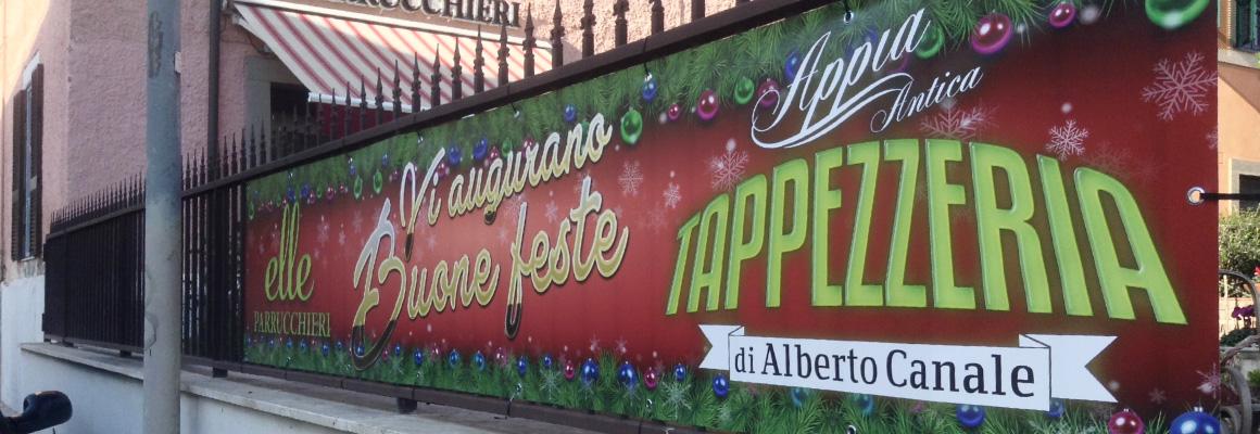 """Striscione natalizio """"Appia Antica Tappezzeria"""" e """"Elle Parrucchieri"""" Striscione natalizio """"Appia Antica Tappezzeria"""" e """"Elle Parrucchieri"""" grafica pubblicitaria a roma STRISCIONE ELLE PARRUCCHIERI APPIA ANTICA TAPPEZZERIA 03"""