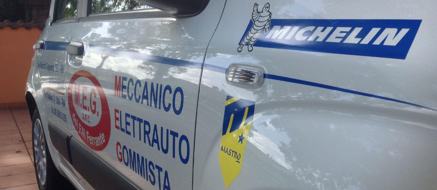 Grafica realizzata su un automezzo di cortesia ditta MEG Grafica realizzata su un automezzo di cortesia ditta MEG grafica pubblicitaria a roma Grafica su Automezzo MEG 01