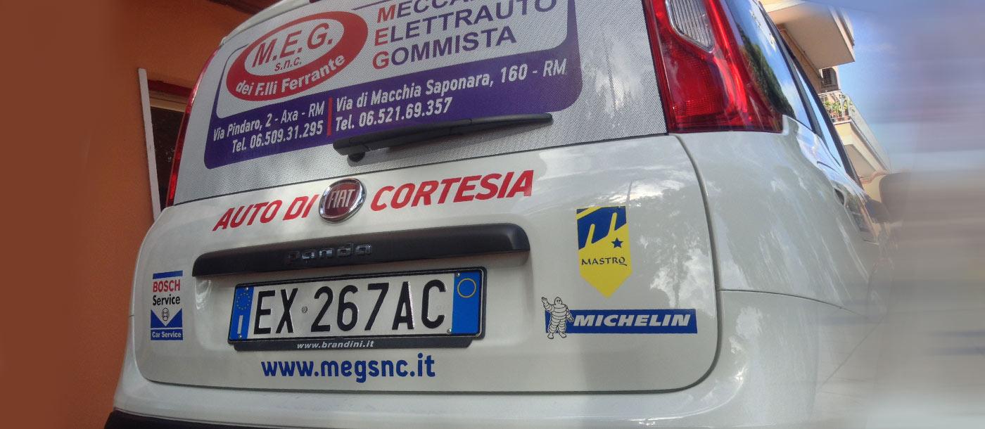 Grafica realizzata su un automezzo di cortesia ditta MEG Grafica realizzata su un automezzo di cortesia ditta MEG grafica pubblicitaria a roma Grafica su Automezzo MEG 05
